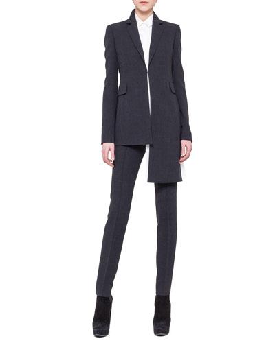 Akris Asymmetric Extended-Hem Jacket, Asymmetric Crepe Blouse & Slim Stretch Wool Pants