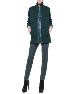 Akris Bicolor Reversible Zip Jacket, Sleeveless Napa Leather Top & Techno-Cotton Slim Pants