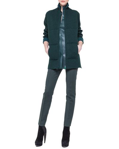 Akris Bicolor Reversible Zip Jacket, Sleeveless Napa Leather Top & Techno-Cotton Slim Pants