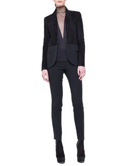 Akris Mock-Neck Tulle-Inset Top and Suede Detachable-Bottom Jacket