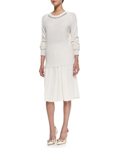 Rebecca Taylor Knit Embellished-Neck Pullover & Crepe Asymmetric Skirt
