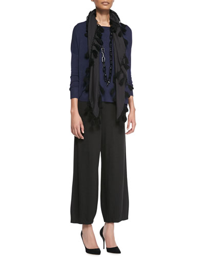 Eileen Fisher Cozy Knit Box Top, Lantern Wide-Leg Ankle Pants & Tassel-Trim Scarf, Petite