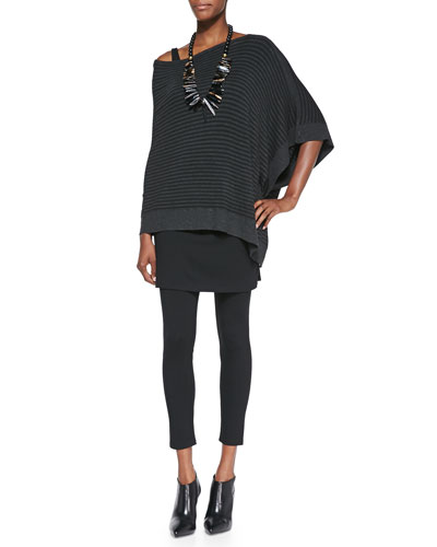Cozy Striped Off-the-Shoulder Poncho, Slim Tank & Skirted Ankle Leggings, Women