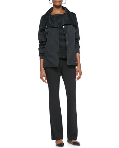 Eileen Fisher Asymmetric Shaped Snap-Front Jacket, Cozy Striped Box Top & Organic Cotton Yoga Pants