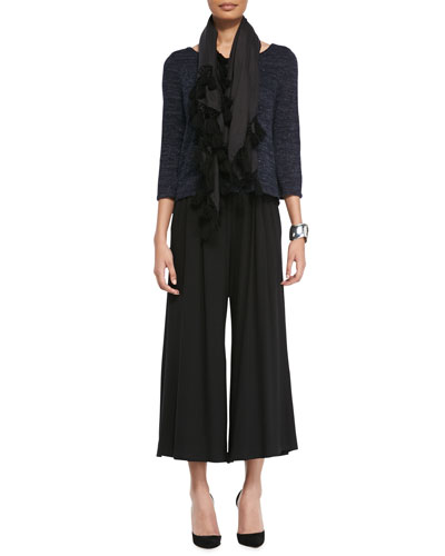 Eileen Fisher Twisted Speckle Box Top, Wide-Leg Cropped Jersey Pants & Modal Twill Tassel-Trim Scarf