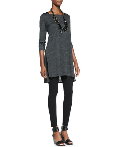 Eileen Fisher Melange Slub Long Tunic, Slim Tank & Viscose Jersey Leggings, Petite