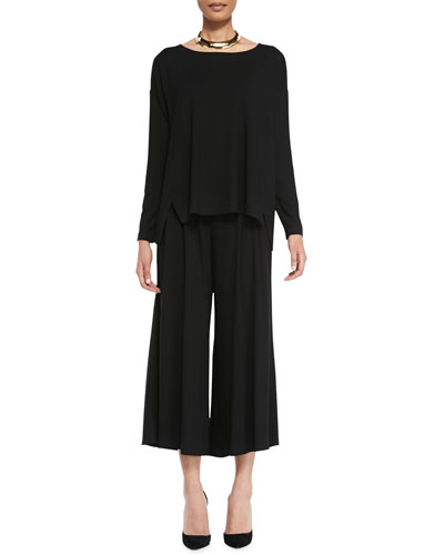 Eileen Fisher Wide-Neck Jersey Box Top & Wide-Leg Cropped Jersey Pants