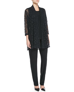 Caroline Rose Marquise Mesh Cardigan, Stretch-Knit Long Tank & Stretch-Knit Slim Pants