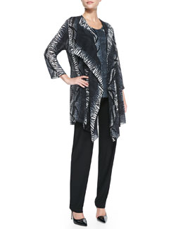 Caroline Rose Open-Front Tribal-Print Cardigan, Tribal-Stripe Tank & Stretch-Knit Slim Pants