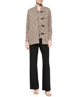 Caroline Rose Toggle-Front Chevron Jacket, Chevron-Knit Tank & Stretch-Knit Straight-Leg Pants