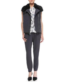 Rebecca Taylor RW Shearling Fur Vest, Geo-Print Silk Sleeveless Henley & Knit Pull-On Pants
