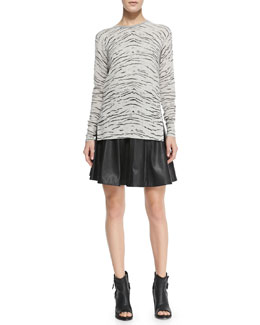 Rebecca Taylor Knit Tiger-Print Long Pullover & Faux-Leather Flounce Skirt