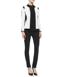 Rebecca Taylor Textured Knit Fitted Jacket, Textured Silk Top & Ava Slim-Leg Techy Pants
