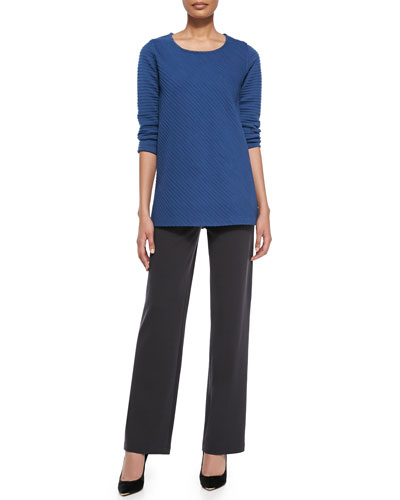 Ottoman Knit 3/4-Sleeve Tunic & Flat Wool-Knit Pants, Women