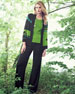 Abstract Pattern Open-Front Jacket, Scoop-Neck Tank & Knit Palazzo Pants, Petite