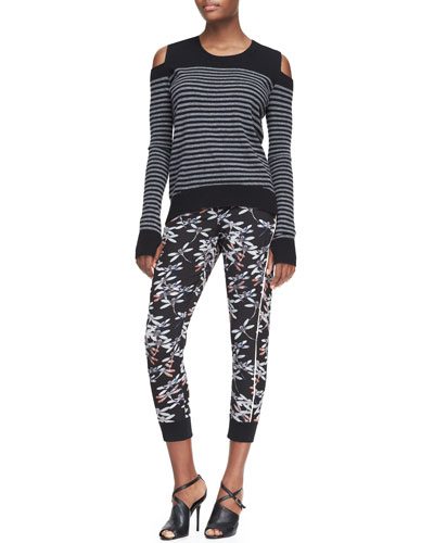 Pam & Gela Cutout-Shoulder Striped Sweater & Printed Pull-On Satin Pants