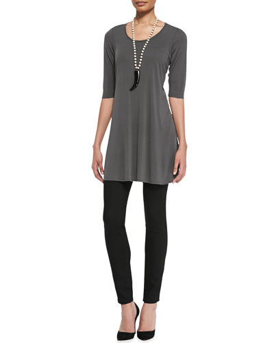 Eileen Fisher Half-Sleeve Silk Jersey Tunic & Stretchy Jean Leggings