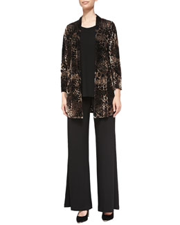 Caroline Rose Animal-Print Velvet Cardigan, Stretch-Knit Long Tank & Stretch Knit Wide-Leg Pants