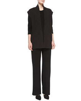 Caroline Rose Basketweave Tunic Vest, Long-Sleeve Tunic & Stretch-Knit Straight-Leg Pants