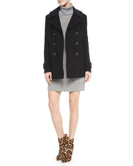 Joie Gabrilyn Long-Sleeve Pea Coat & Shera B Knit Sweater Dress