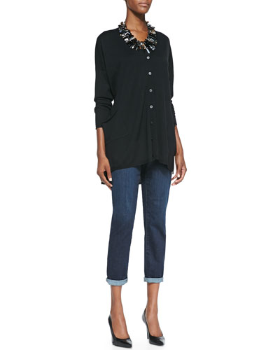 V-Neck Long Boxy Cardigan, Organic Cotton Slim Tank & Slim Stretch Ankle Jeans