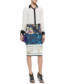 Clover Canyon Rita Contrast-Trim French-Cuff Blouse & James Joyce Mixed-Print Pencil Skirt
