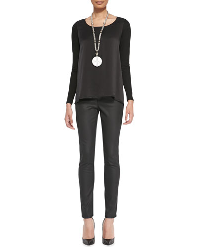 Eileen Fisher Silk Charmeuse-Front Long-Sleeve Top & Waxed Stretch Skinny Jeans