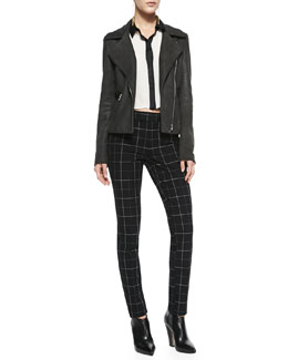 L'Agence Lambskin Leather Zip-Front Moto Jacket, Rita Contrast-Trim French-Cuff Blouse & Prep School Slim Plaid Pants
