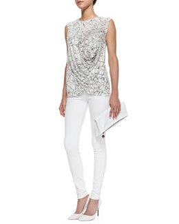 J Brand Jeans Rumor Printed Draped Sleeveless Top & Maria High-Rise Skinny Jeans