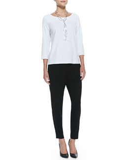 Eileen Fisher 3/4-Sleeve Cotton Tee & Slouchy Tapered Pants