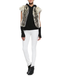 Pam & Gela Chainmail-Detail Faux-Fur Vest, Sleeveless Hooded Sweatshirt & Maria High-Rise Skinny Jeans