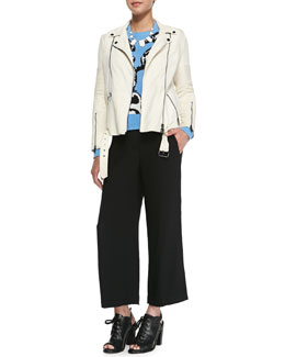 Haute Hippie Suede Long-Sleeve Moto Jacket, Lina Penguin Intarsia Sweater & Woods Cuffed Crepe Gaucho Pants