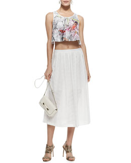 Rebecca Minkoff Silk Floral Line Drawing-Print Sleeveless Top & Piper Open-Weave Mesh Skirt
