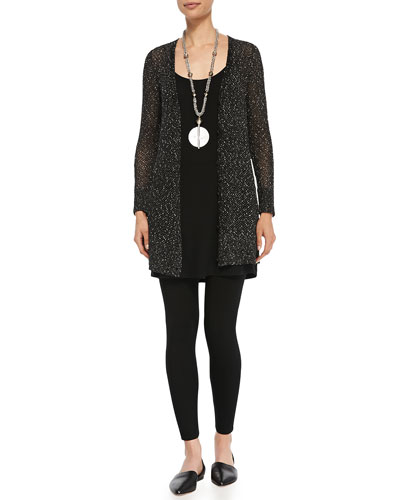 V-Neck Boyfriend Cardigan, Long Jersey Tunic & Viscose Jersey Leggings