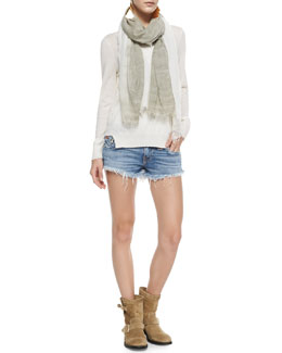 True Religion Theodate Sheer Ribbed-Hem Sweater & Joey Cutoff Denim Shorts
