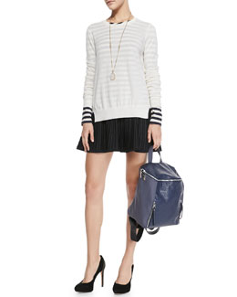 A.L.C. Theodate Sheer Ribbed-Hem Sweater, Pam Striped Long-Sleeve Tee & Street Stretch A-Line Skirt