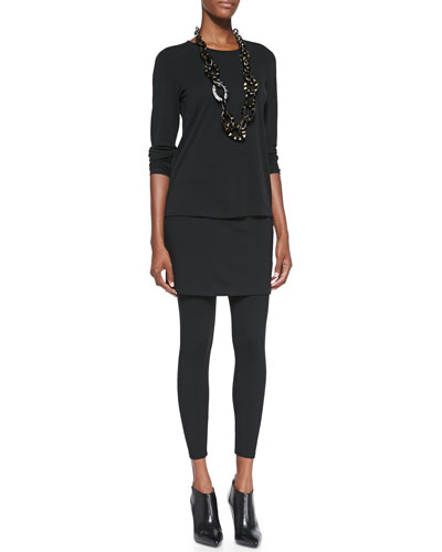 Eileen Fisher Long-Sleeve Silk Crewneck Tee & Skirted Ankle Leggings