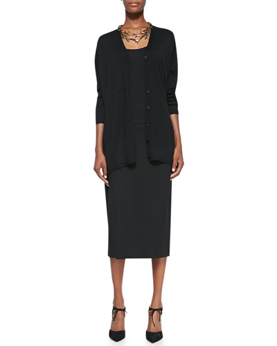 V-Neck Long Boxy Cardigan, Scoopneck Jersey Cami & Knee-Length Jersey Skirt
