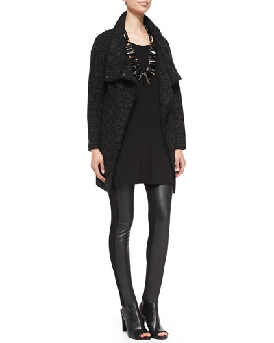 Eileen Fisher Eco Box Pebble Jacket, Half-Sleeve Silk Jersey Tunic & Ponte Leather-Blocked Leggings