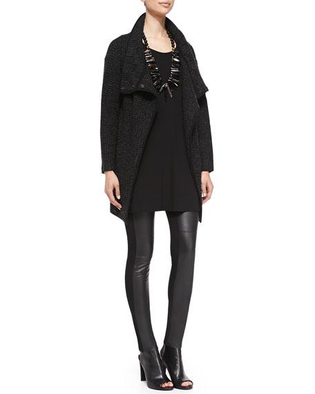Eileen Fisher Ponte Leather-Blocked Leggings