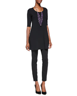 Eileen Fisher Half-Sleeve Silk Jersey Tunic & Stretch Ponte Leggings