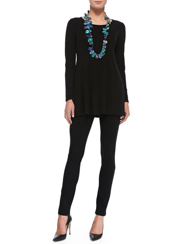 Eileen Fisher Silk Jersey Long-Sleeve Tunic & Organic Twill Skinny Ankle Jeans
