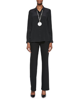 Eileen Fisher Long-Sleeve Silk Button-Front Blouse & Straight-Leg Ponte Pants