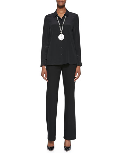 Long-Sleeve Silk Button-Front Blouse & Straight-Leg Ponte Pants
