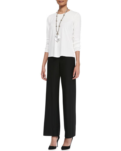 Eileen Fisher Long-Sleeve Silk Crewneck Tee & Washable Crepe Modern Wide-Leg Pants