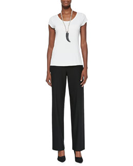 Eileen Fisher Silk-Jersey Cap-Sleeve Tee & Washable-Crepe Straight-Leg Pants
