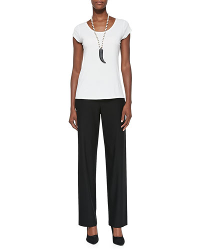 Silk-Jersey Cap-Sleeve Tee & Washable-Crepe Straight-Leg Pants