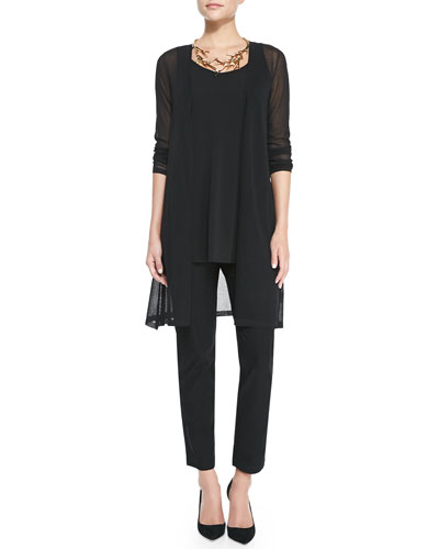 Eileen Fisher Gossamer Crepe Open Cardigan, Long Silk Jersey Tunic & Crepe Slim Ankle Pants