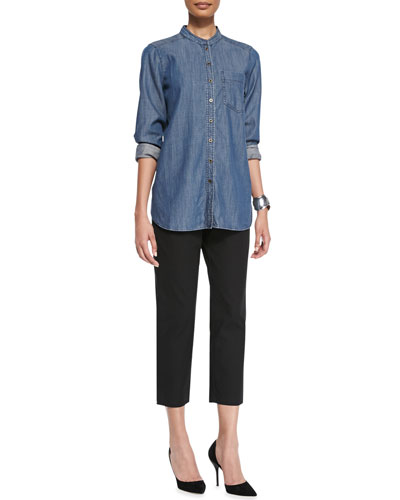 Long-Sleeve Denim Shirt & Twill Slim Ankle Pants