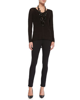 Eileen Fisher Classic Slub-Knit V-Neck Tunic & Rayon Knit Skinny Pants